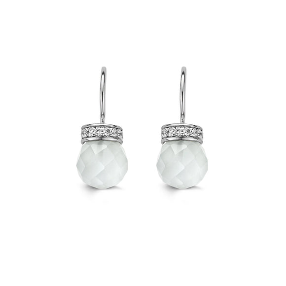 Ti Sento Earrings Drop Silver And White Cubic Zirconia Bead 7528CW