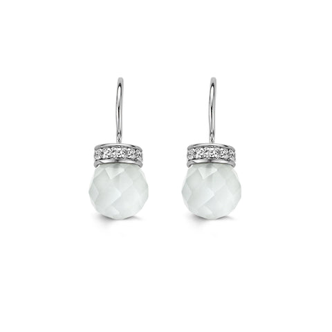 Ti Sento Earrings Drop Silver And White Cubic Zirconia Bead