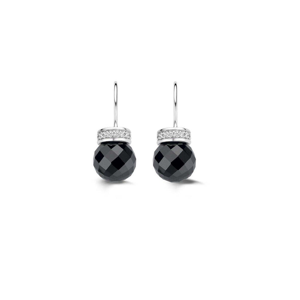 Ti Sento Earrings Drop Silver And Onyx Bead Cubic Zirconia Top