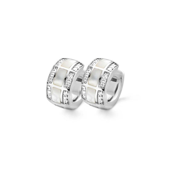 Ti Sento Earrings Hoop Silver And White Mother of Pearl And Cubic Zirconia 3 Row 7530MW