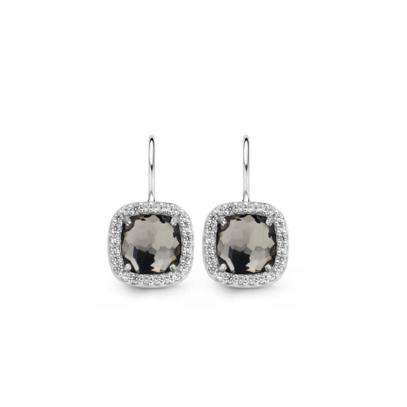 Ti Sento Earrings Drop Silver With Blue And White Cubic Zirconia Cushion 7555BM