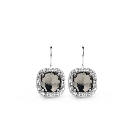 Ti Sento Earrings Drop Silver With Blue And White Cubic Zirconia Cushion