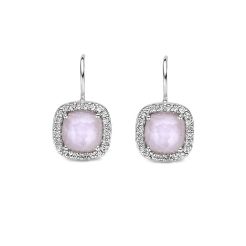 Ti Sento Earrings Drop Silver With Pink And White Cubic Zirconia Cushion
