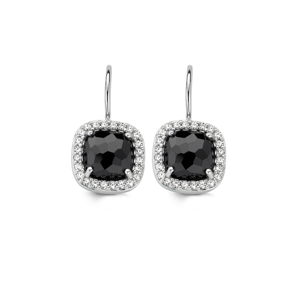 Ti Sento Earrings Drop Silver With Onyx And White Cubic Zirconia Cushion