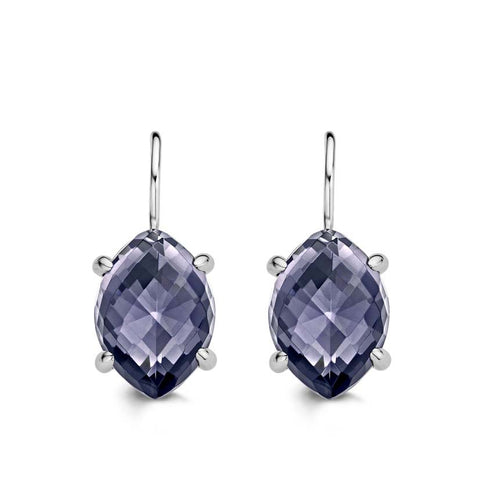 Ti Sento Earrings Drop Silver And Purple Cubic Zirconia Marquise