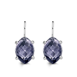 Ti Sento Earrings Drop Silver And Purple Cubic Zirconia Marquise 7586GM
