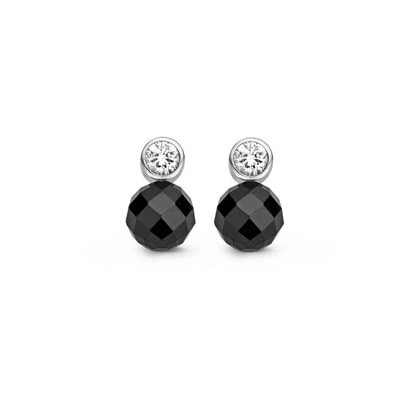 Ti Sento Earrings Drop Silver With Black And White Cubic Zirconia Round 7590ZB