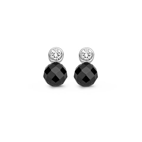 Ti Sento Earrings Drop Silver With Black And White Cubic Zirconia Round