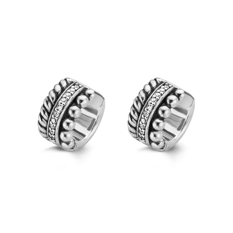 Ti Sento Earrings Hoop Silver And White Cubic Zirconia Multi Band