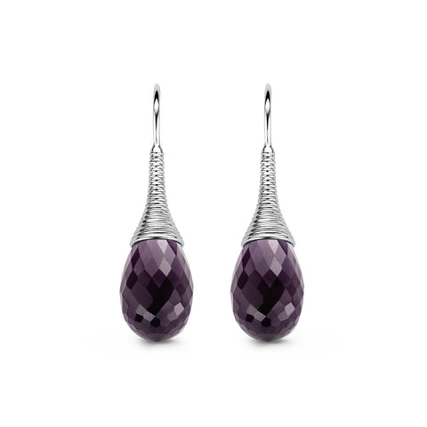 Ti Sento Earrings Drop Silver And Purple Cubic Zirconia Pear