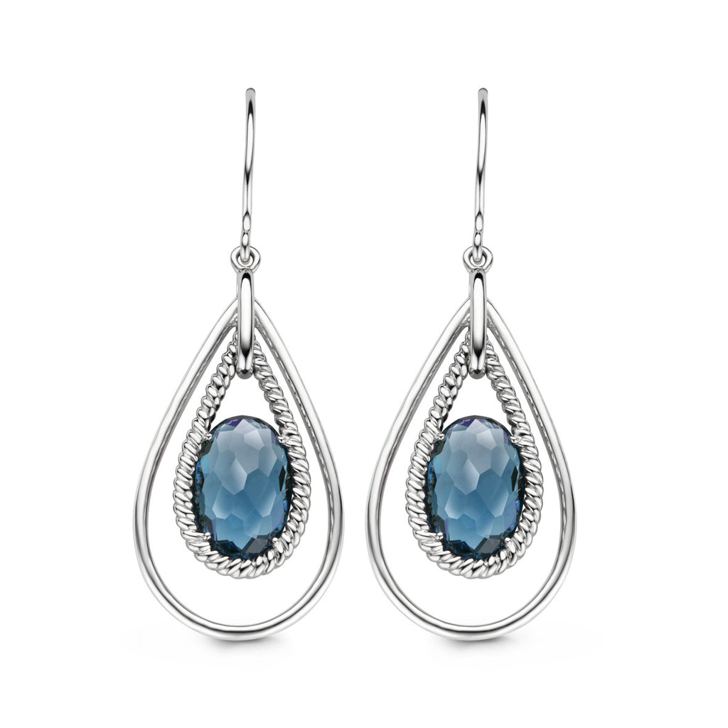 Ti Sento Earrings Drop Silver And Blue Cubic Zirconia Oval