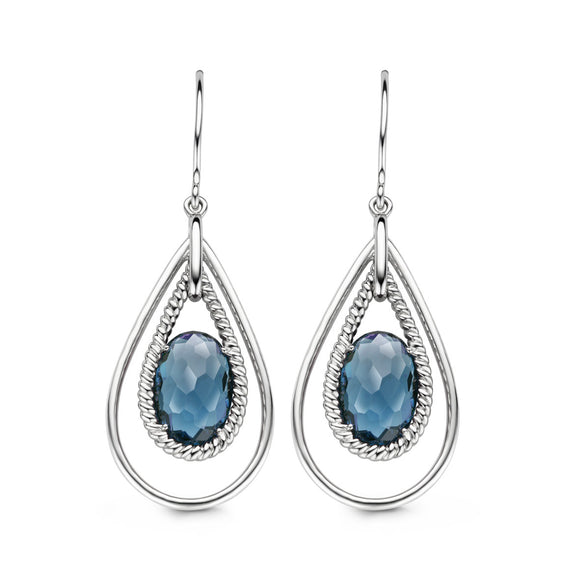Ti Sento Earrings Drop Silver And Blue Cubic Zirconia Oval 7622TP