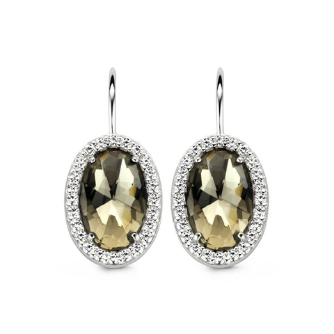 Ti Sento Earrings Silver And Brown Cubic Zirconia Oval