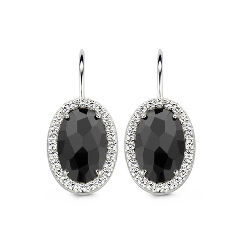 Ti Sento Earrings Silver And Black Cubic Zirconia Oval