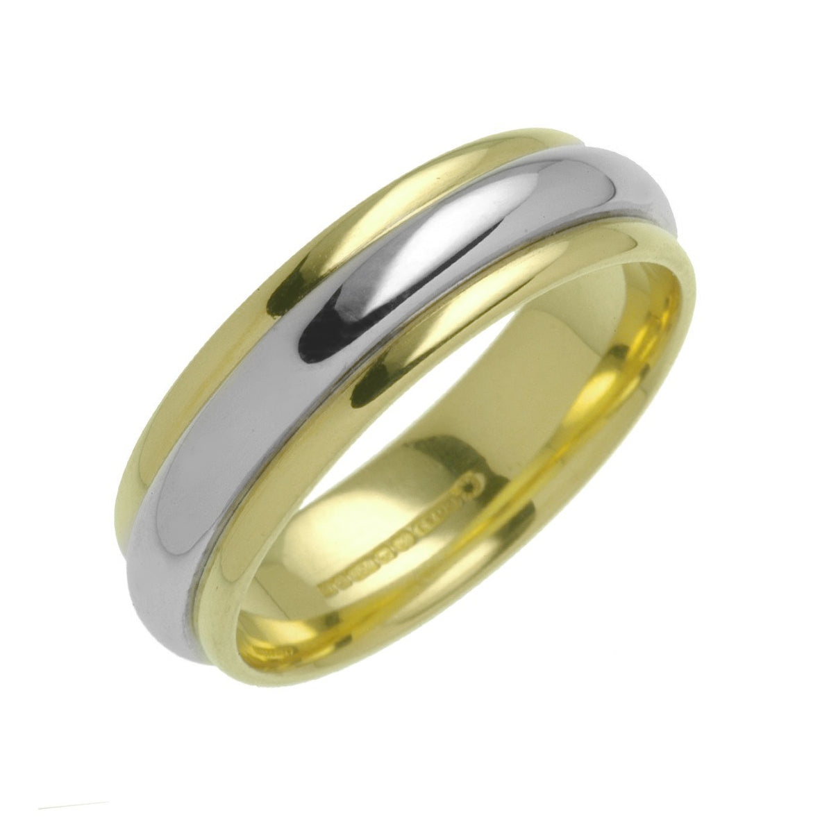 18ct Yellow and White Gold Two Tone Wedding Ring