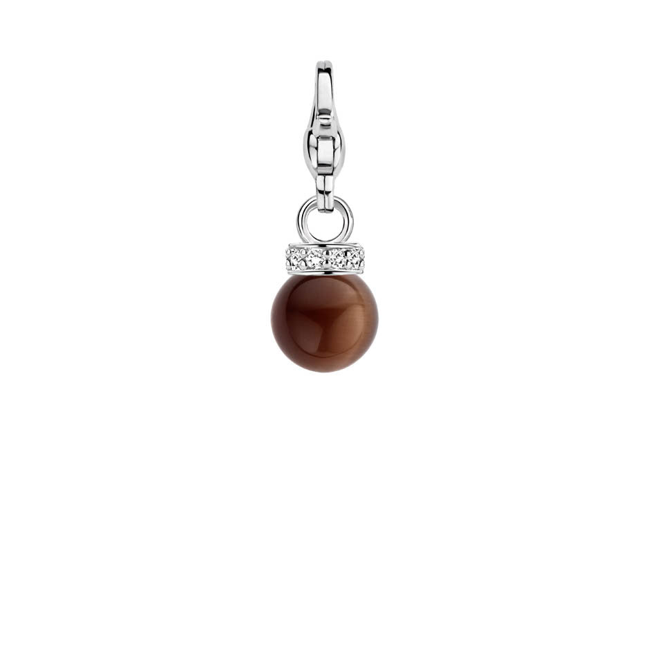 Ti Sento Charm Charming Silver and Brown Catseye Bead CZ Top