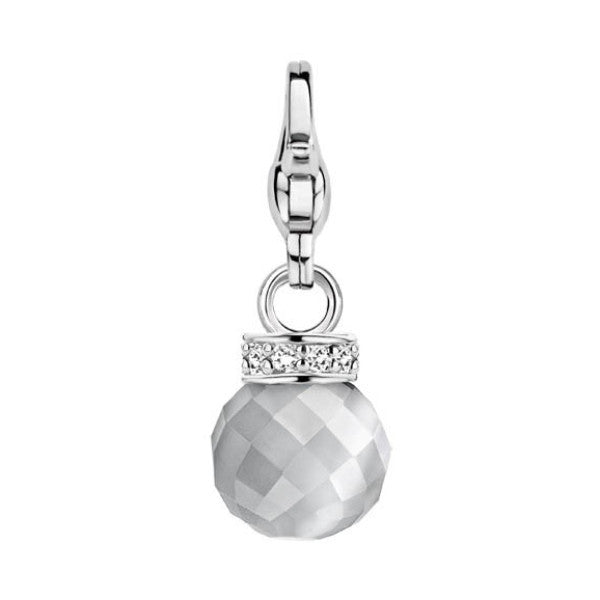 Ti Sento Charming Silver and Grey Catseye Bead CZ Top Charm