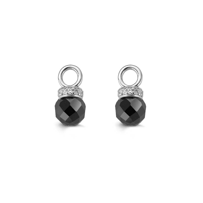 Ti Sento Earrings Earcharms Silver And Onyx Bead Cubic Zirconia Top