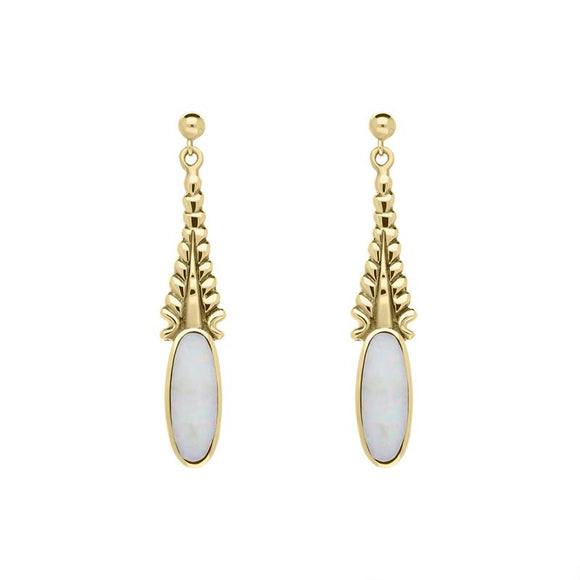 9ct Yellow Gold Opal Tapered Flute Drop Earrings E087
