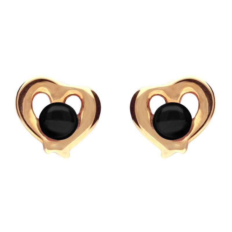 9ct Rose Gold Whitby Jet Heart Outline Stud Earrings