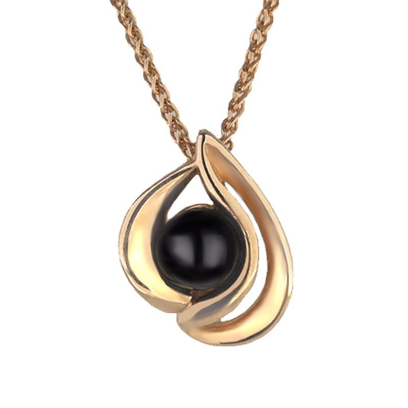 9ct Rose Gold Whitby Jet Open Sided Tear Drop Necklace