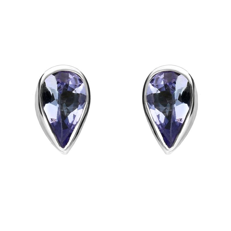 9ct White Gold Tanzanite Small Pear Stud Earrings
