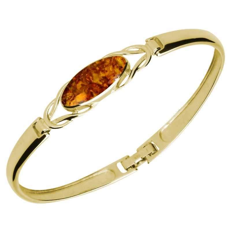 9ct Yellow Gold Amber Celtic Marquise Clip Bangle