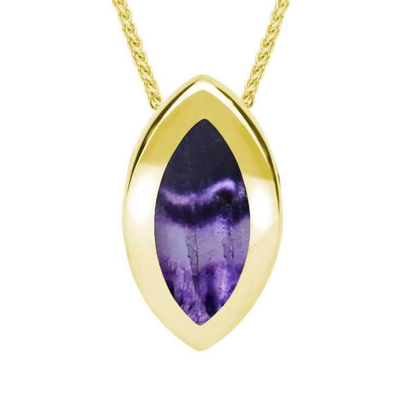 9ct Yellow Gold Blue John Framed Marquise Necklace. P861.