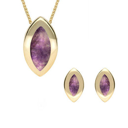 9ct Yellow Gold Blue John Framed Marquise Two Piece Set