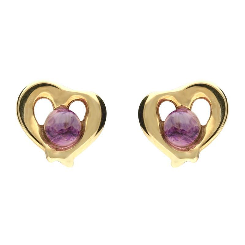 9ct Yellow Gold Blue John Heart Outline Stud Earrings