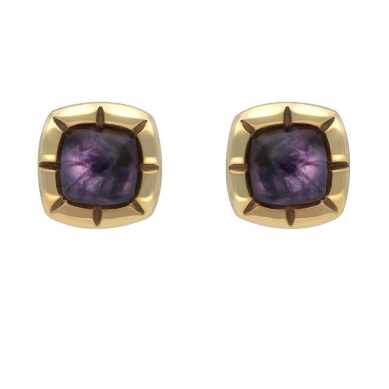 9ct Yellow Gold Blue John Ridged Cushion Stud Earrings