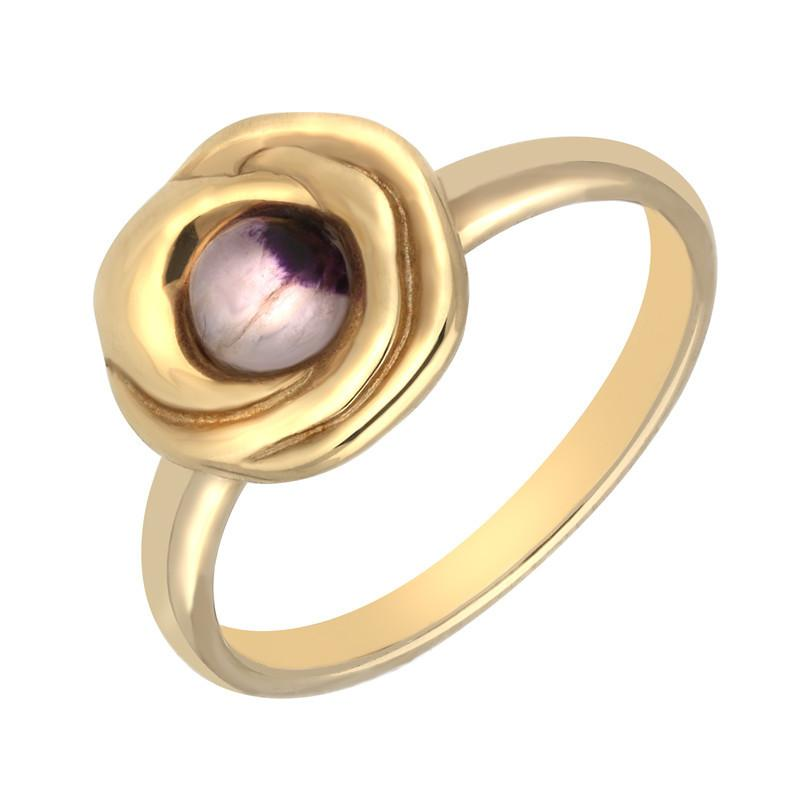 9ct Yellow Gold Blue John Stone Rose Ring