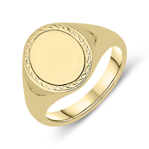 9ct Yellow Gold Engraved Oval Signet Ring