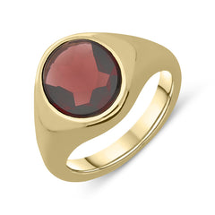 9ct Yellow Gold Garnet Oval Signet Ring