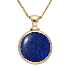 9ct Yellow Gold Lapis Lazuli Double Sided Dinky Fob Necklace