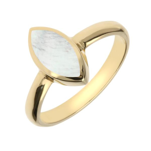 9ct Yellow Gold Mother of Pearl Marquise Ring