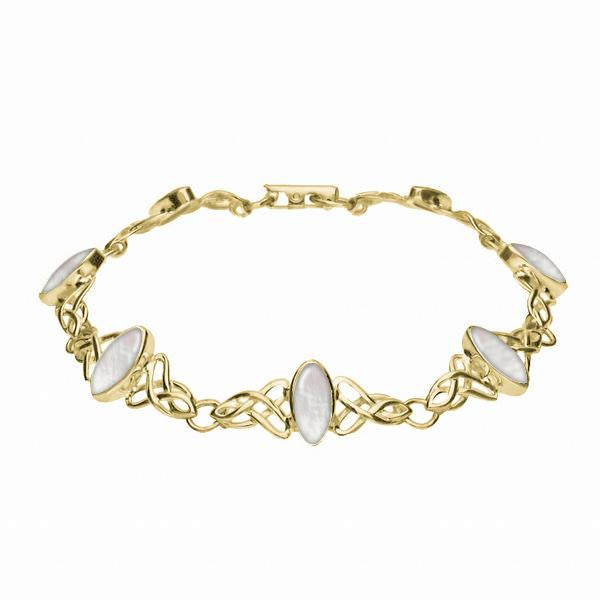 9ct Yellow Gold Mother of Pearl Marquise Shaped Celtic Bracelet