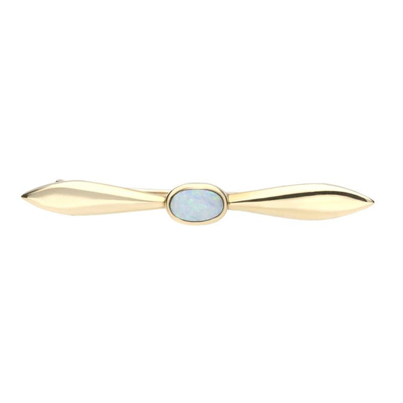 9ct Yellow Gold Opal Tapered Bar Brooch M043