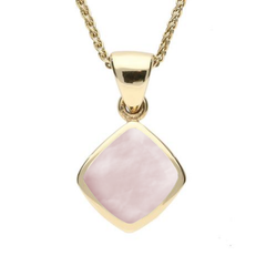9ct Yellow Gold Pink Mother of Pearl Dinky Cushion Necklace