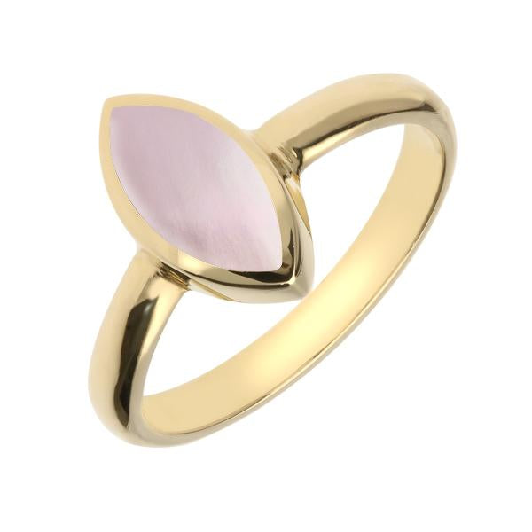 9ct Yellow Gold Pink Mother of Pearl Marquise Ring