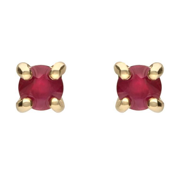 9ct Yellow Gold 0.30ct Ruby Brilliant Cut Stud Earrings