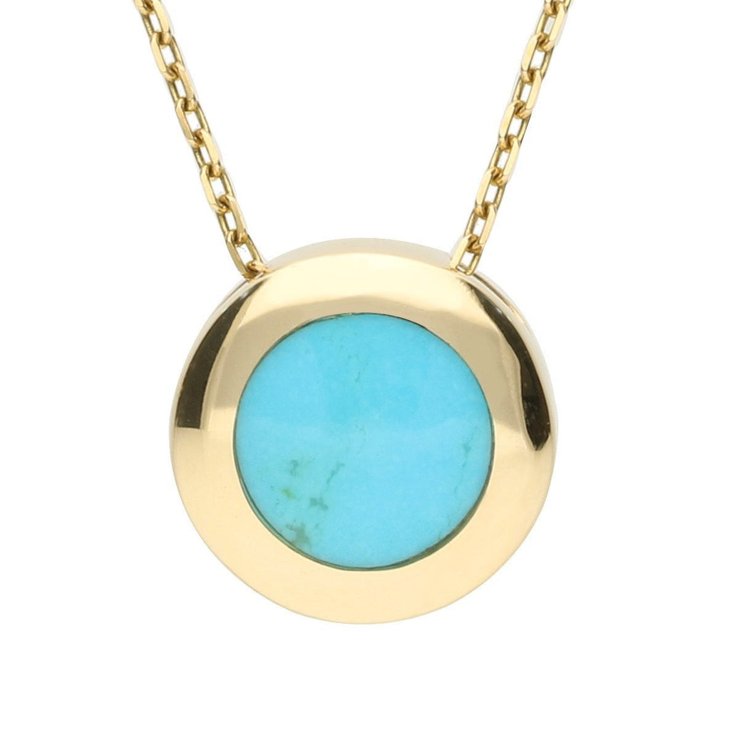 9ct Yellow Gold Turquoise Modern Framed Round Necklace
