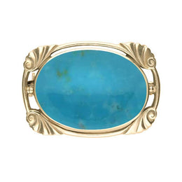 9ct Yellow Gold Turquoise Oblong Oval Shaped Brooch, M012