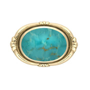 9ct Yellow Gold Turquoise Oval Fleur Brooch M057