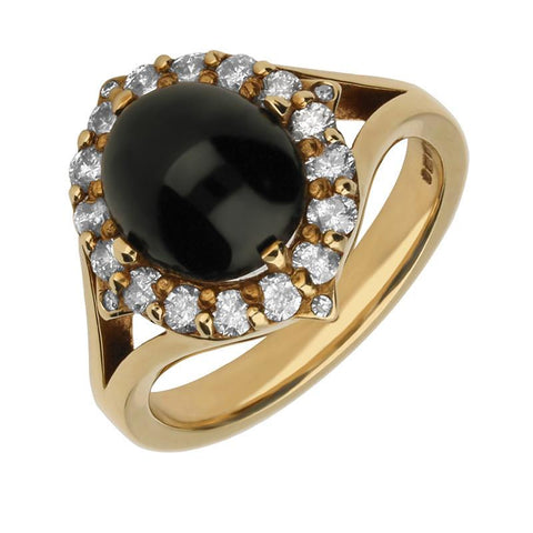 9ct Yellow Gold Whitby Jet 0.50ct Diamond Cluster Ring