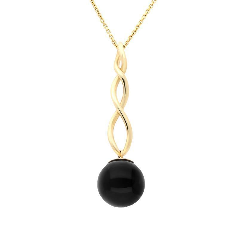 9ct Yellow Gold Whitby Jet 10mm Bead Twist Necklace