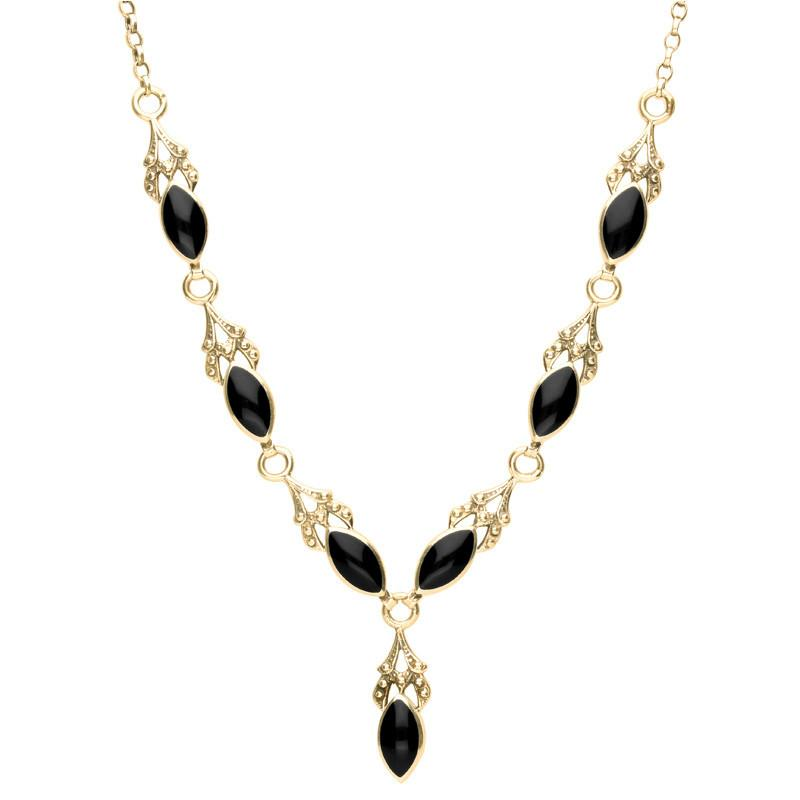 9ct Yellow Gold Whitby Jet 7 Stone Marquise Drop Necklace