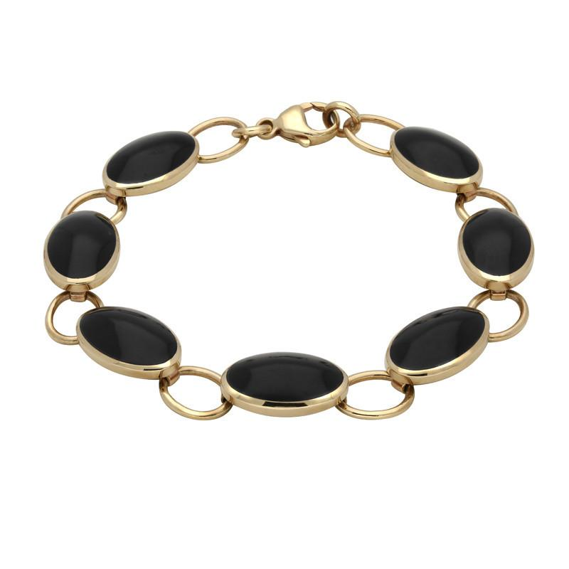 9ct Yellow Gold Whitby Jet 7 Stone Oval Bracelet