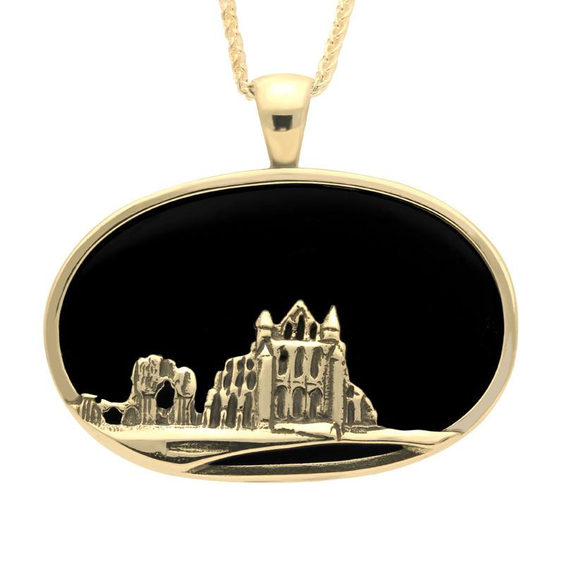 9ct Yellow Gold Whitby Jet Abbey Oval Necklace