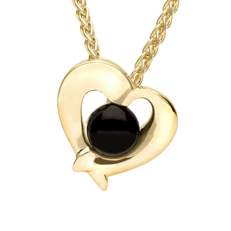9ct Yellow Gold Whitby Jet Abstract Heart Necklace